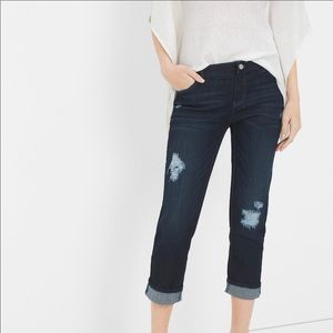 WHBM Straight Distressed Crop Jeans